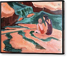 Sisters At Slide Rock Acrylic Print by Betty Pieper