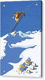 Sky Skier Acrylic Print by Sassan Filsoof