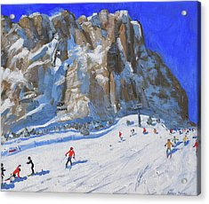 Skiing Down The Mountain,selva Gardena Acrylic Print by Andrew Macara