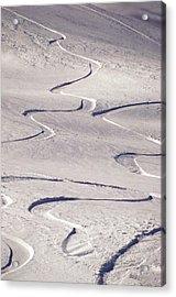 Skiing Tracks Acrylic Print by John Foxx