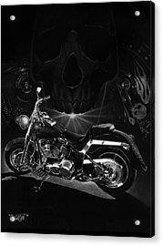 Skull Harley Acrylic Print by Tim Dangaran