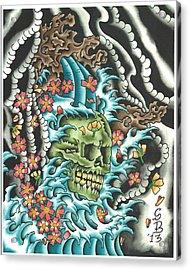 Skull With Fingerwaves Acrylic Print by Scott Bohrer