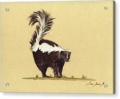 Skunk Watercolor Acrylic Print by Juan  Bosco