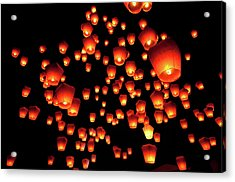 Sky Lanterns In Pinghsi Acrylic Print by Jun