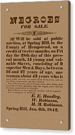 Slave Auction Acrylic Print by War Is Hell Store