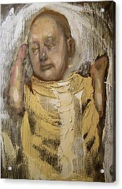 Sleeping Baby In Golden Cloth Acrylic Print by Derek Van Derven