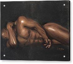 Sleeping Nude Acrylic Print by L Cooper