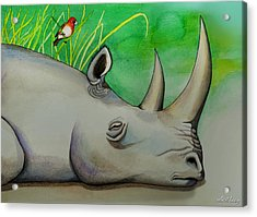 Sleeping Rino Acrylic Print by Robert Lacy