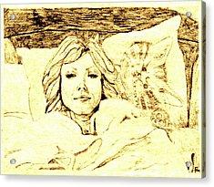 Sleepy Girl Friend On A Cat Pillow Acrylic Print by Sheri Buchheit