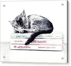 Sleepy Kitten Cat On Books Library Cute Kity Gray Striped Acrylic Print by Laura Row