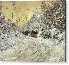 Sleigh Ride In Central Park Acrylic Print by Childe Hassam