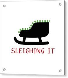 Sleighing It- Art By Linda Woods Acrylic Print by Linda Woods