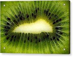 Slice Of Juicy Green Kiwi Fruit Acrylic Print by Tracie Kaska