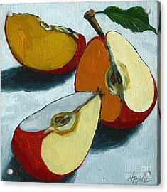 Sliced Apple Still Life Oil Painting Acrylic Print by Linda Apple