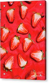 Sliced Red Strawberry Background Acrylic Print by Jorgo Photography - Wall Art Gallery