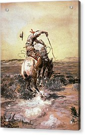 Slick Rider Acrylic Print by Charles Russell