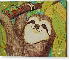 Sloth And Frog Acrylic Print by Nick Gustafson