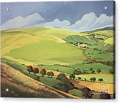 Small Green Valley Acrylic Print by Anna Teasdale