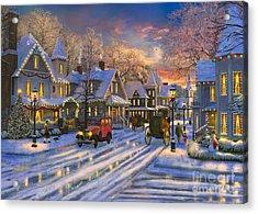 Small Town Christmas Acrylic Print by Dominic Davison