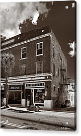 Small Town Shops - Sepia Acrylic Print by Christopher Holmes