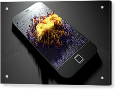 Smart Phone Emanating Augmented Reality Acrylic Print by Allan Swart