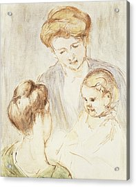 Smiling Baby With Two Girls Acrylic Print by Mary Stevenson Cassatt