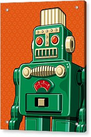 Smoking Robot Acrylic Print by Ron Magnes
