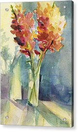 Snapdragons In Morning Light Floral Watercolor Acrylic Print by Beverly Brown