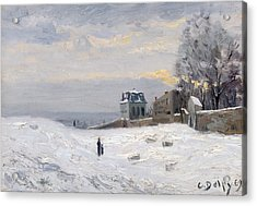 Snow At Montmartre Acrylic Print by Hippolyte Camille Delpy