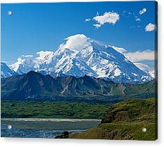 Snow-covered Mount Mckinley, Blue Sky Acrylic Print by Panoramic Images