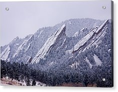 Snow Dusted Flatirons Boulder Colorado Acrylic Print by James BO  Insogna
