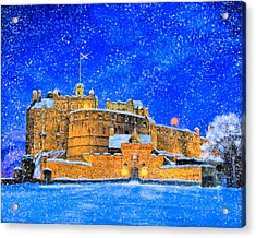 Snow Falling On Edinburgh Castle Acrylic Print by Mark Tisdale