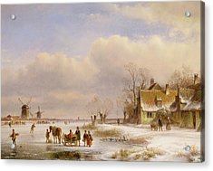 Snow Scene With Windmills In The Distance Acrylic Print by Lodewijk Johannes Kleyn