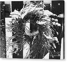 Snow Wreath Acrylic Print by Diane E Berry