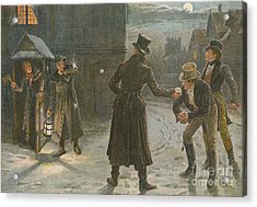 Snowballing The Watchmen Acrylic Print by George Goodwin Kilburne