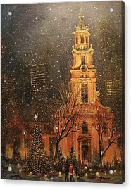 Snowfall In Cathedral Square - Milwaukee Acrylic Print by Tom Shropshire