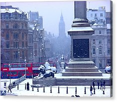 Snowfall Invades London Acrylic Print by Christopher Robin