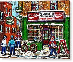 Snowfall Street Hockey Arena Bakery Montreal Memories Coca Cola Sign Original Winter Scene For Sale Acrylic Print by Carole Spandau