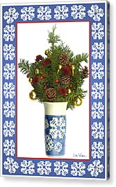 Snowflake Vase With Christmas Regalia Acrylic Print by Lise Winne