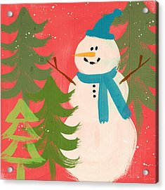 Snowman In Blue Hat- Art By Linda Woods Acrylic Print by Linda Woods