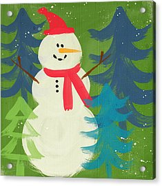Snowman In Red Hat-art By Linda Woods Acrylic Print by Linda Woods