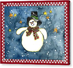 A Snowman On A Starry Night Acrylic Print by Shelley Wallace Ylst