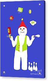 Snowman Juggler Acrylic Print by Barbara Moignard