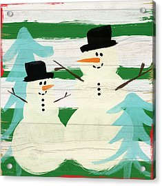 Snowmen With Blue Trees- Art By Linda Woods Acrylic Print by Linda Woods