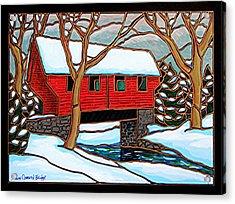 Snowy Covered Bridge Acrylic Print by Jim Harris