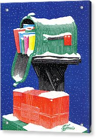 Snowy Mailbox Collage Acrylic Print by Jim Harris