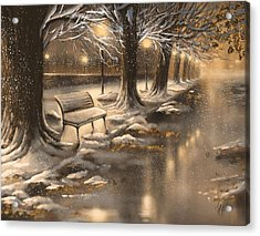 Snowy Night Acrylic Print by Veronica Minozzi