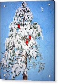 Snowy Pine With Cardinals Acrylic Print by Ethel Vrana