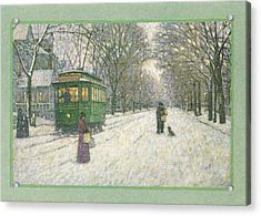 Snowy Scene With Old Fashioned Acrylic Print by Gillham Studios