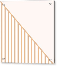 Soft Blush And Coral Stripe Triangles Acrylic Print by Linda Woods